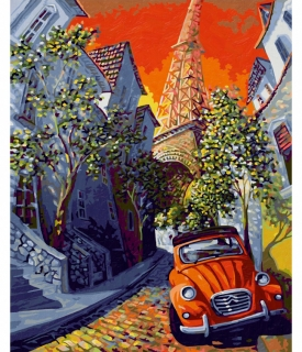 The Little Red Citroën - podľa Miguela Freitasa (40 x 50 cm)